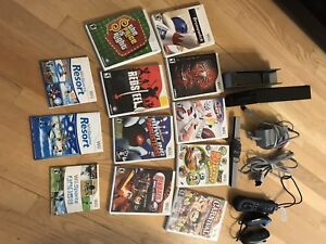 WII console and 11 games. One contrôler 100$ works perfect