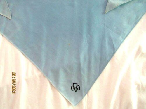 1919 LIGHT BLUE NECKERCHIEF Girl Scout Uniform BLACK Trefoil w-Dot Combine EUC