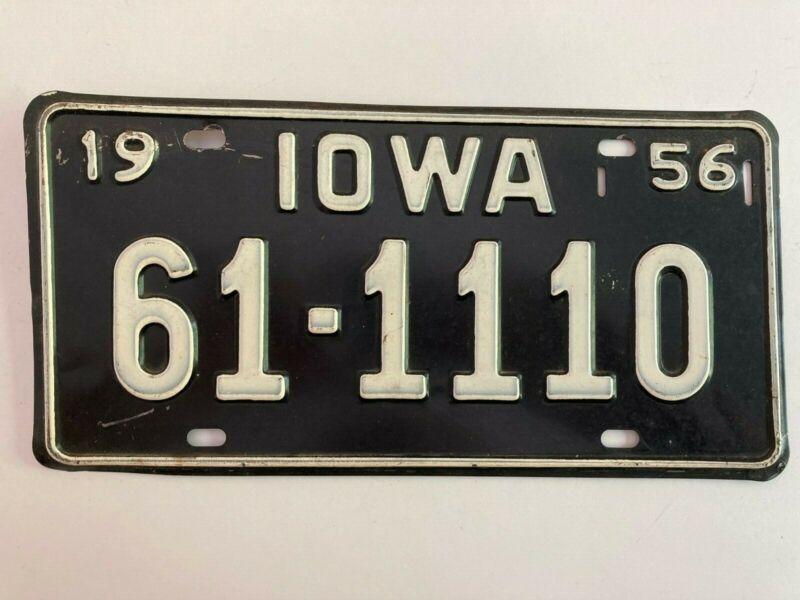 1956 Iowa License Plate All Original Paint