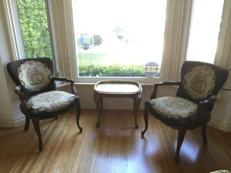Antique Parlor chairs with original needlepoint embroidary