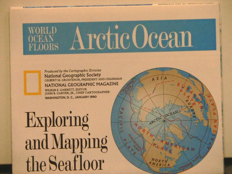 Vintage 1990 National Geographic Map of World Ocean Floors Arctic Ocean