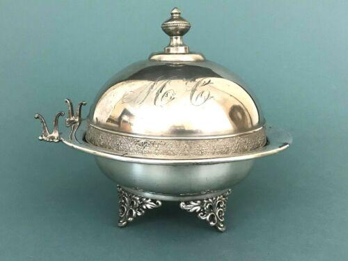 ATQ WM Rogers Silver Plate Butter Dish w Prong Holder Glass Insert Monogram Lid