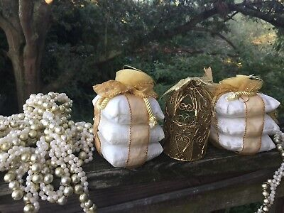 Vintage GOLD TONE Bird Cage Christmas Ornament & Pillow Stack & Garland LOT ❤️j8