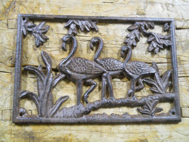 Cast Iron FLAMINGO Plaque Sign FLORIDA Home Garden Wall Decor Stepping Stone
