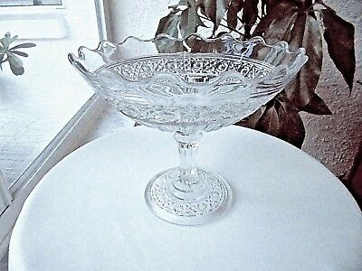 Antique John Higbee Glass Co. Compote Hawaiian Lei Pattern c - Hawaiian Lei Company