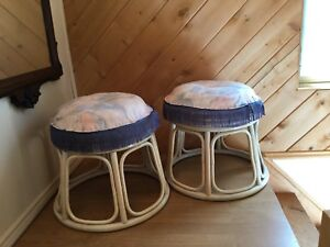 Rattan Round Stools with Removable  Cushions