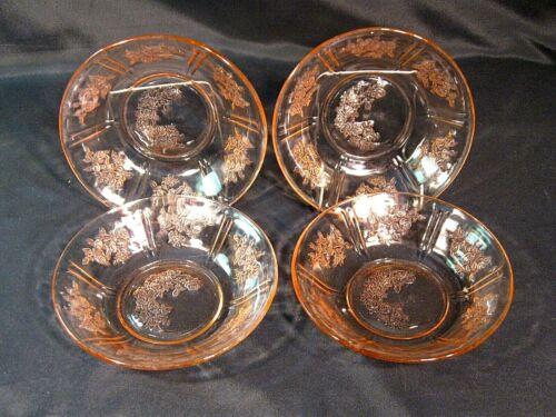 Federal Glass Sharon Cabbage Rose Pink Cereal Bowls Set of 4