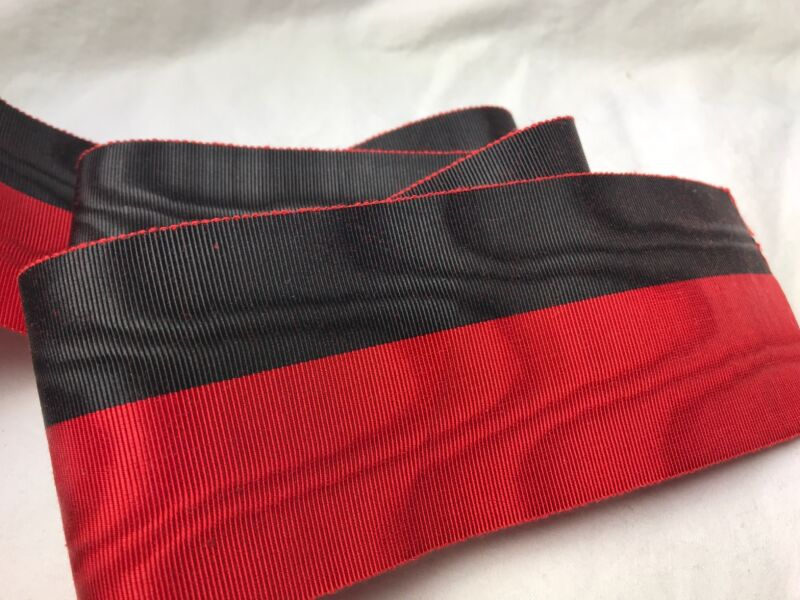 "BTY 1 yard 2 5/8"" Black red moire vintage striped rayon Petersham ribbon hat"