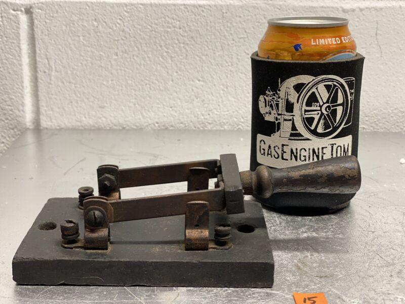 Slate Base Knife Switch Vintage Steampunk Frankenstein Hit Miss Antique Copper