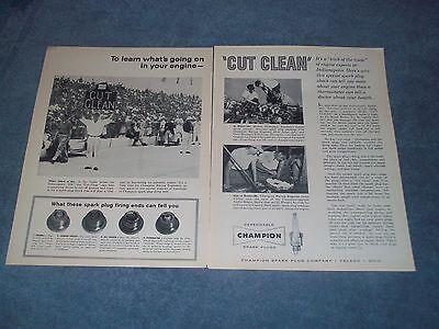 1960 Champion Spark Plugs Vintage 2Pg Ad  Cut Clean  Indy 500