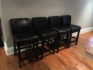 Black leather counter stools