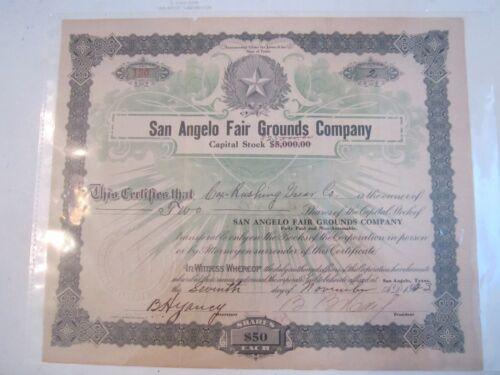 1923 SAN ANGELO FAIR GROUNDS COMPANY STOCK CERTIFICATE - ZZZ