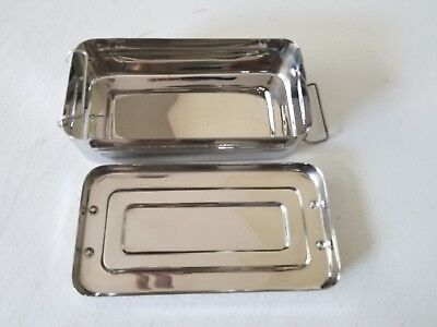 Body Piercing Tools Medical Instruments Tray With Lid 8x4x2 Stainless Steel