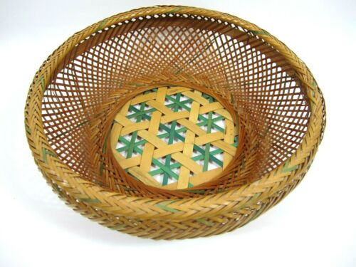 """Japanese Bamboo Basket Takekago VTG 40s Rice Round Made in Occupied Japan 11"""""""