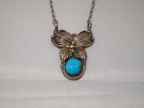 Vintage Southwestern Turquoise & Sterling Silver 925 Pendant Necklace