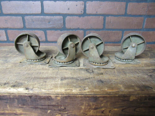 Vintage Industrial Swivel Ball Baring Cast Iron Large Casters Set of Four Caster