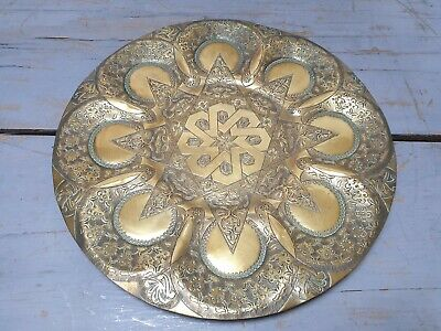 Indian Brass Plate Charger Dish Middle Eastern Vintage Antique 35 cm