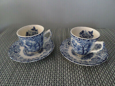 Johnson Brothers VINTAGE Mill Stream Blue Espresso Coffee Cups and Saucers X 2