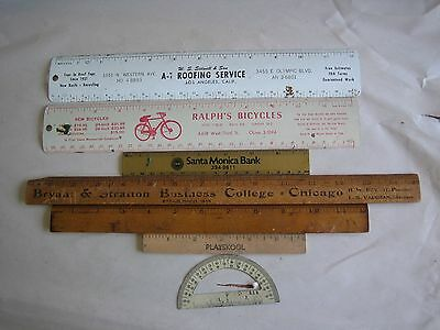 Vtg 7 Rulers A-1 Roofing,  Ralph's Bicycles, Playskool, Bryant & Stratton