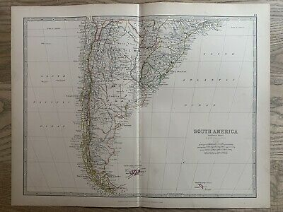 1886 CHILE & ARGENTINA ANTIQUE HAND COLOURED MAP BY JOHNSTON 134 YEARS OLD