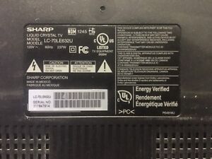 """Sharp 70"""" TV LC-70LE632U broken LCD for parts"""