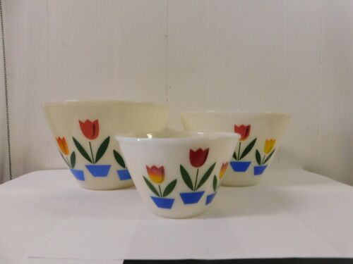 Fire King Tulip Nesting Mixing Bowls s/3 USA
