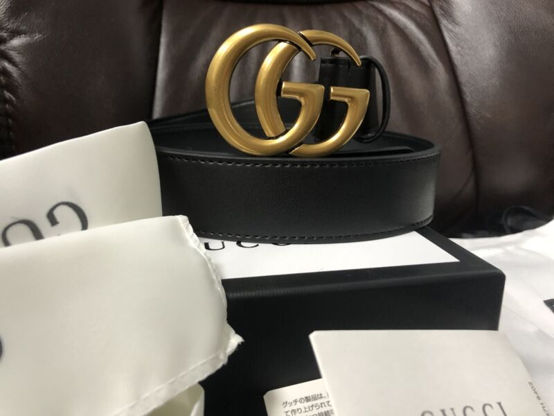 NEW Unisex Authentic Gucci Double GG Buckle Belt Size 90