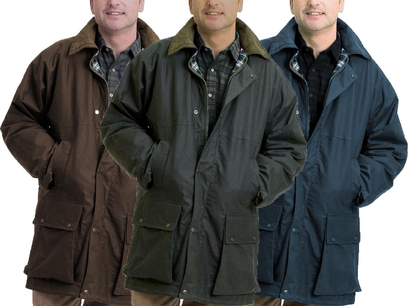 Herren Gepolstert Wachsjacke Britisch Gewachst Mantel 100% Baumwolle Warm