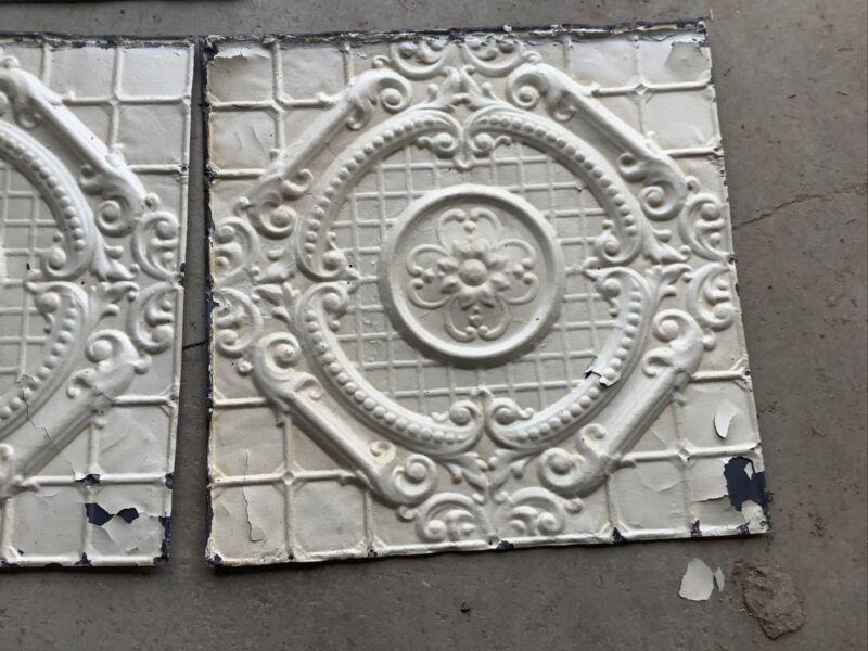 "Antique 24x24"" Metal Tin Ceiling Tile Salvaged Reclaim"