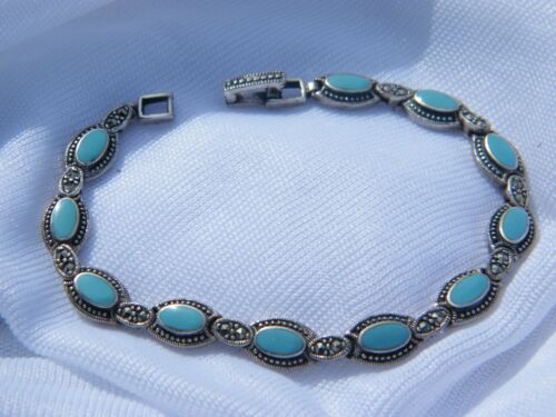 """STERLING SILVER AND TURQUOISE 7"""" LINK BRACELET -  VINTAGE SIGNED MO OR CW"""