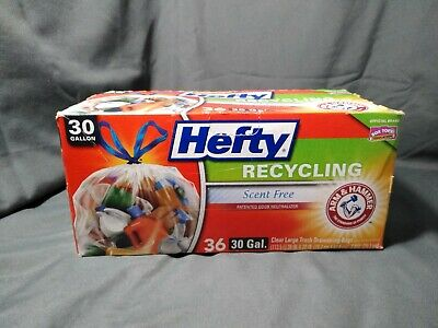 Hefty Recycling Bags Scent Free 30 Gallons 36 Count