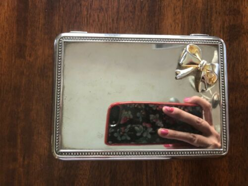 """Silver-Plated Square Jewelry/Trinket Box with Ribbon in the Corner 5.5"""""""