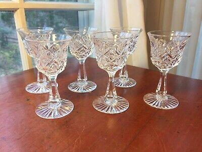Dorflinger set 6 Cordials American Brilliant Cut Glass Marlboro Pattern RARE