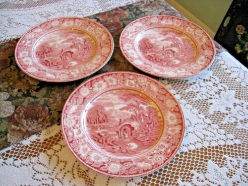 "Midwinter LTD. Red Transferware ""RURAL ENGLAND"" Dinner Plates - Set of 3"