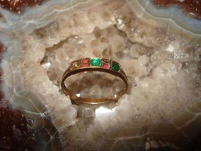 Antiker Historischer Ring 333 Gold mit 5 echten Steinen gepunzt mit einer Krone (Ring Mit Krone)