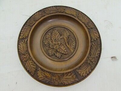 Vintage French Wooden Carved Plate / Tray / Shallow Bowl, Floral Carvings 10.5