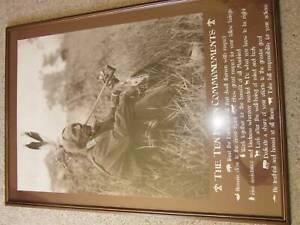 Framed Native American poster ten commandments Bradbury Campbelltown Area Preview