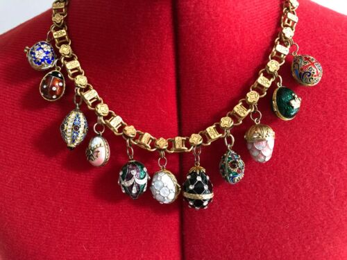 11 ASSORTED RUSSIAN ENAMELLED EGGS ON NECKLACE - Alexandra Intl. + Extra Egg