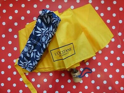 L'Occitane Bright Yellow Telescopic UMBRELLA / Brolly Wooden Handle Compact 10in for sale  Shipping to Canada
