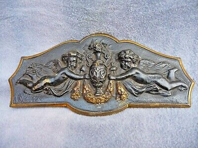 Vintage French Gilt Brass+Blacked Furniture fitting Plaque-Two Cherubs With Urn