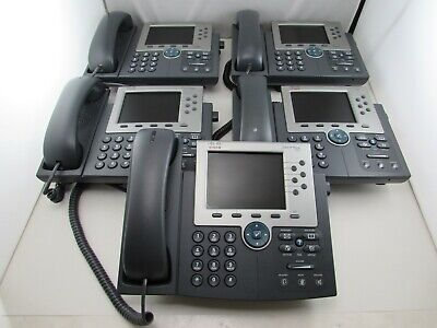 Lot Of 5 Cisco Cp-7965g Unified Ip Phone Sip Sccp Telephone Coil Handset