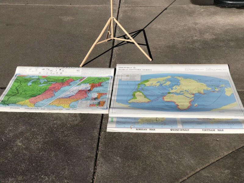 RAND MCNALLY  WORLD HISTORY & Our America Map Sets - Classroom Education