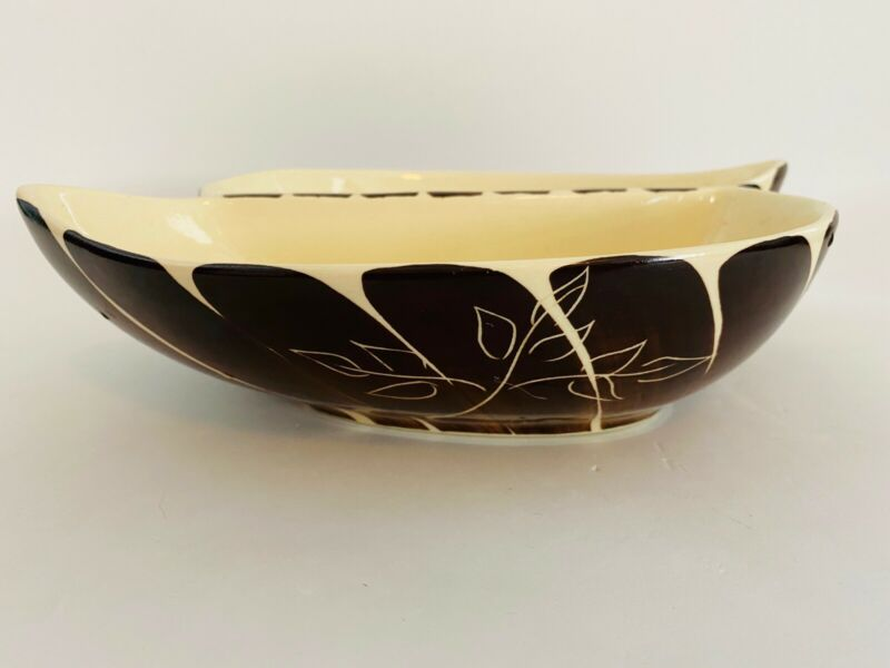 Vintage Purinton Slip Ware Brown Intaglio Divided Vegetable Double Serving Dish
