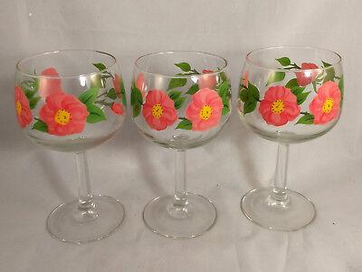 Set of 3 Franciscan Desert Rose 12 Ounce All Purpose Glasses/Goblets Desert Rose Set