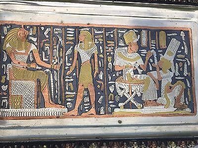 Vintage Copper Brass Silver Egyptian Platter - Tray 12