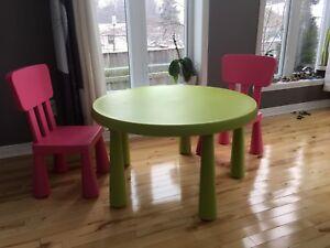 Table enfant + 2 chaises ikea Mammut