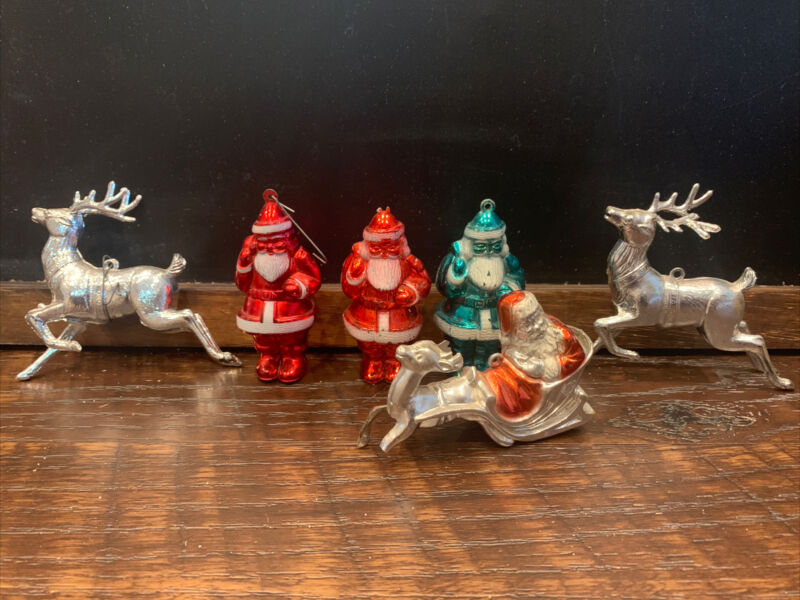 Vintage Hard Plastic Santa Sleigh Reindeer Lot Metallic Irwin
