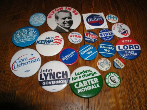 LOT OF 20 POLITICAL CAMPAIGN PINBACK BUTTONS