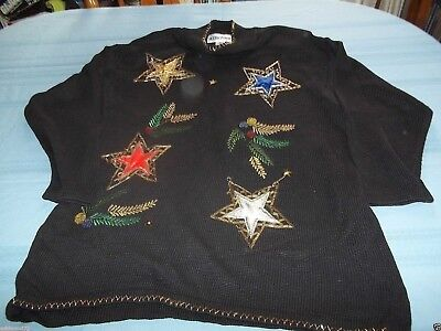 Ugly Christmas Decorations (Victoria Woman black Stars & Christmas Decorations Sweater Size XL cute)