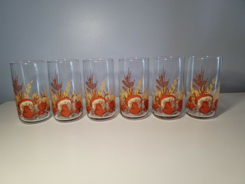 Set of 6 Anchor Hocking MUSHROOM Pattern Tumblers Drinking Glasses Retro MCM